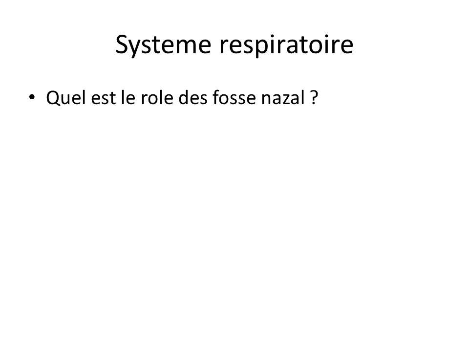 Systeme respiratoire Quel est le role des fosse nazal