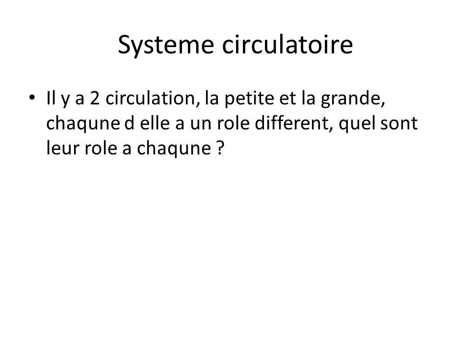 Systeme circulatoire Il y a 2 circulation, la petite et la grande, chaqune d elle a un role different, quel sont leur role a chaqune