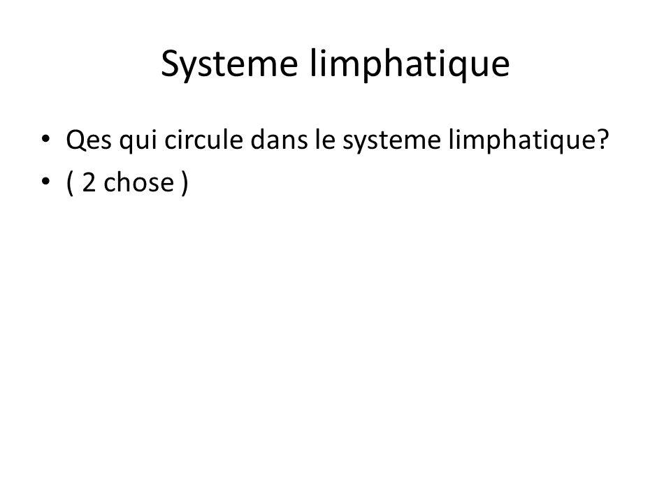 Systeme limphatique Qes qui circule dans le systeme limphatique