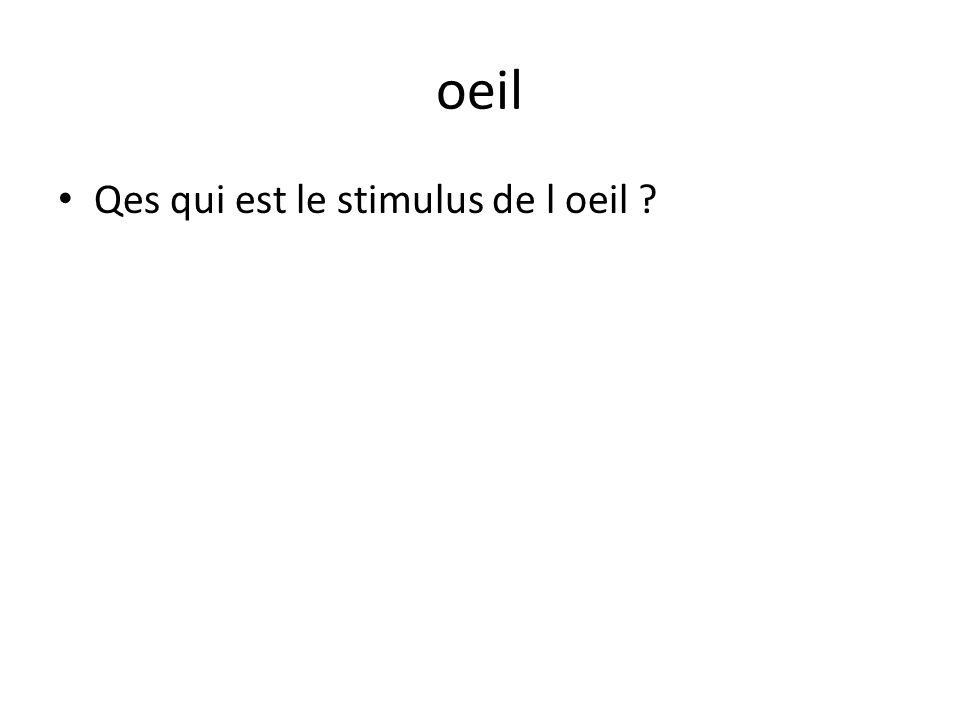 oeil Qes qui est le stimulus de l oeil