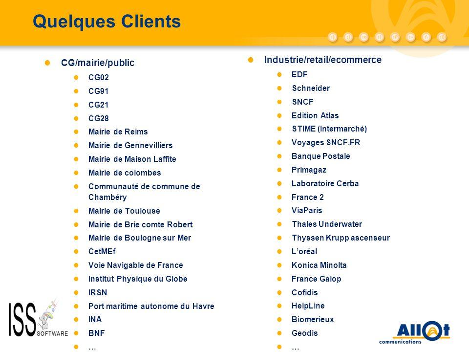 Quelques Clients Industrie/retail/ecommerce CG/mairie/public EDF CG02