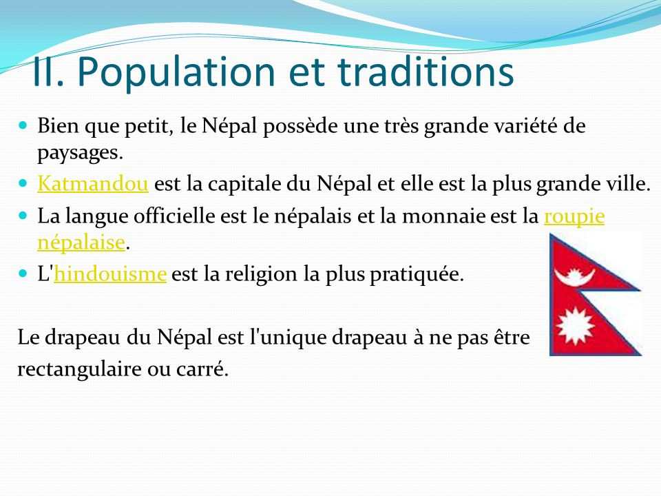 II. Population et traditions