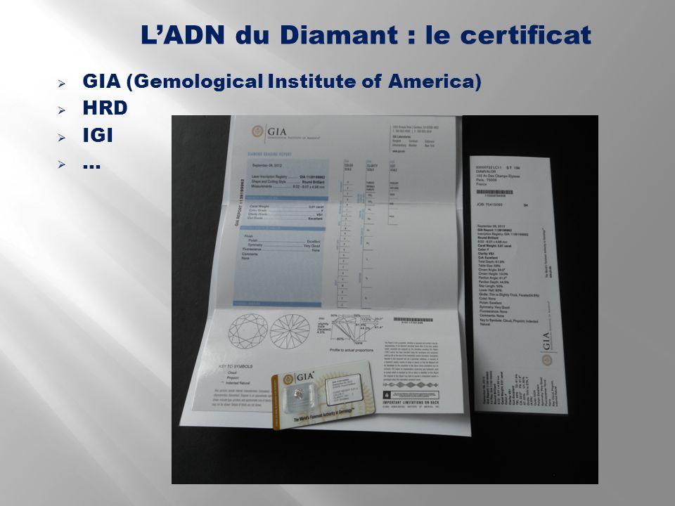 L'ADN du Diamant : le certificat