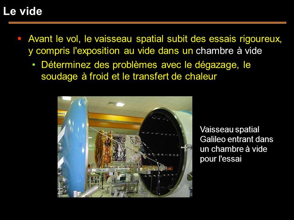 Le vide Avant le vol, le vaisseau spatial subit des essais rigoureux, y compris l exposition au vide dans un chambre à vide.