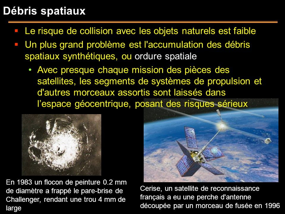 Débris spatiaux Le risque de collision avec les objets naturels est faible.
