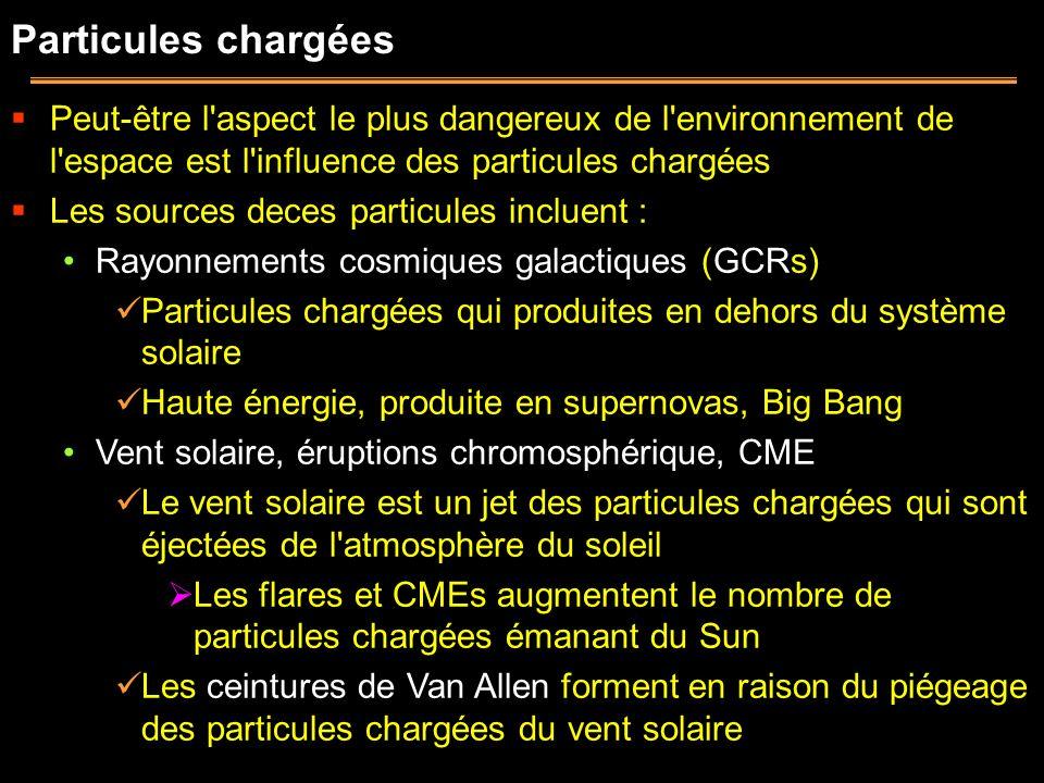 Particules chargées Peut-être l aspect le plus dangereux de l environnement de l espace est l influence des particules chargées.