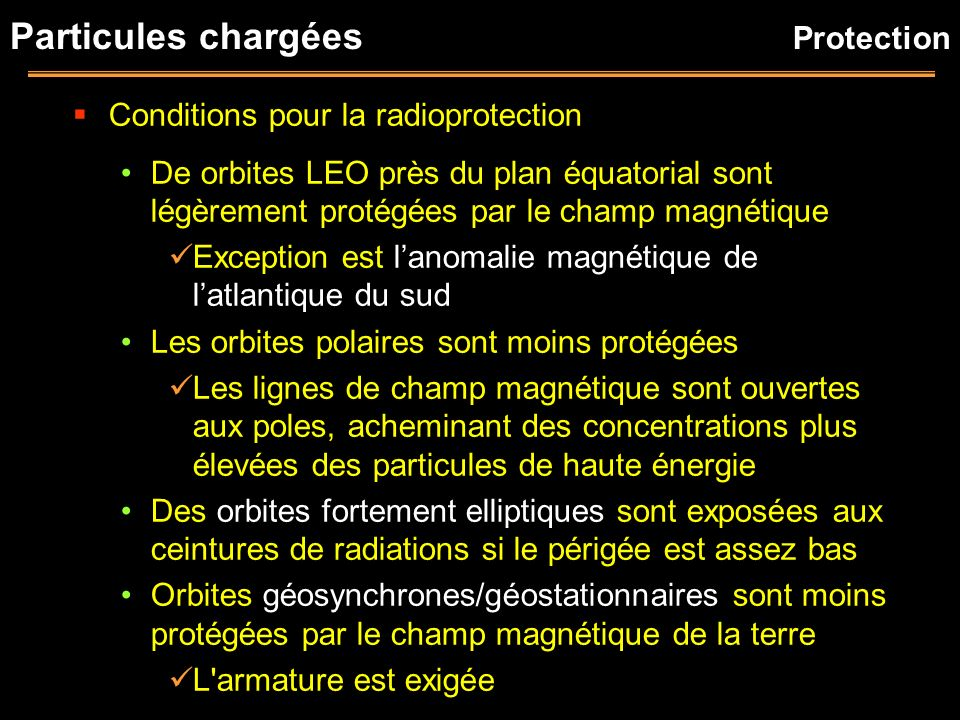 Particules chargées Protection Conditions pour la radioprotection