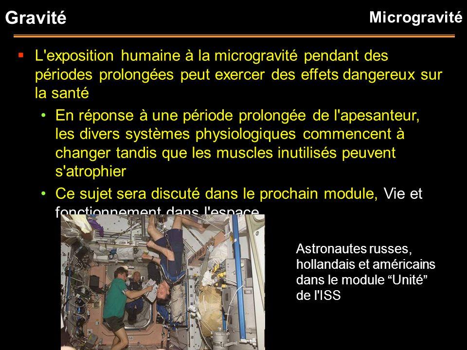 Gravité Microgravité. L exposition humaine à la microgravité pendant des périodes prolongées peut exercer des effets dangereux sur la santé.