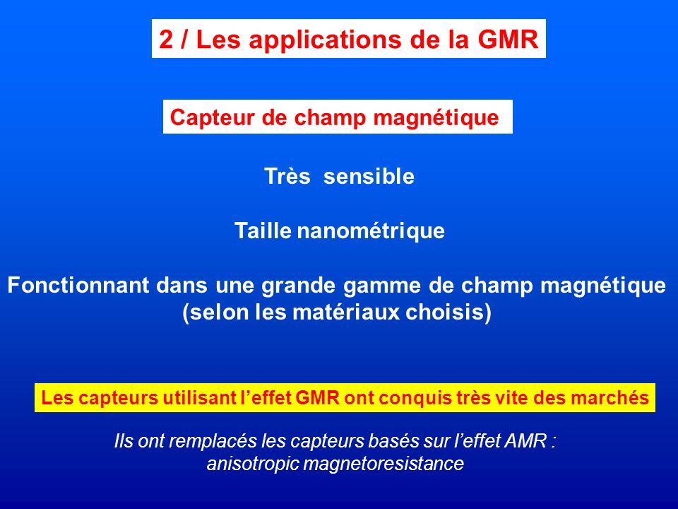 2 / Les applications de la GMR