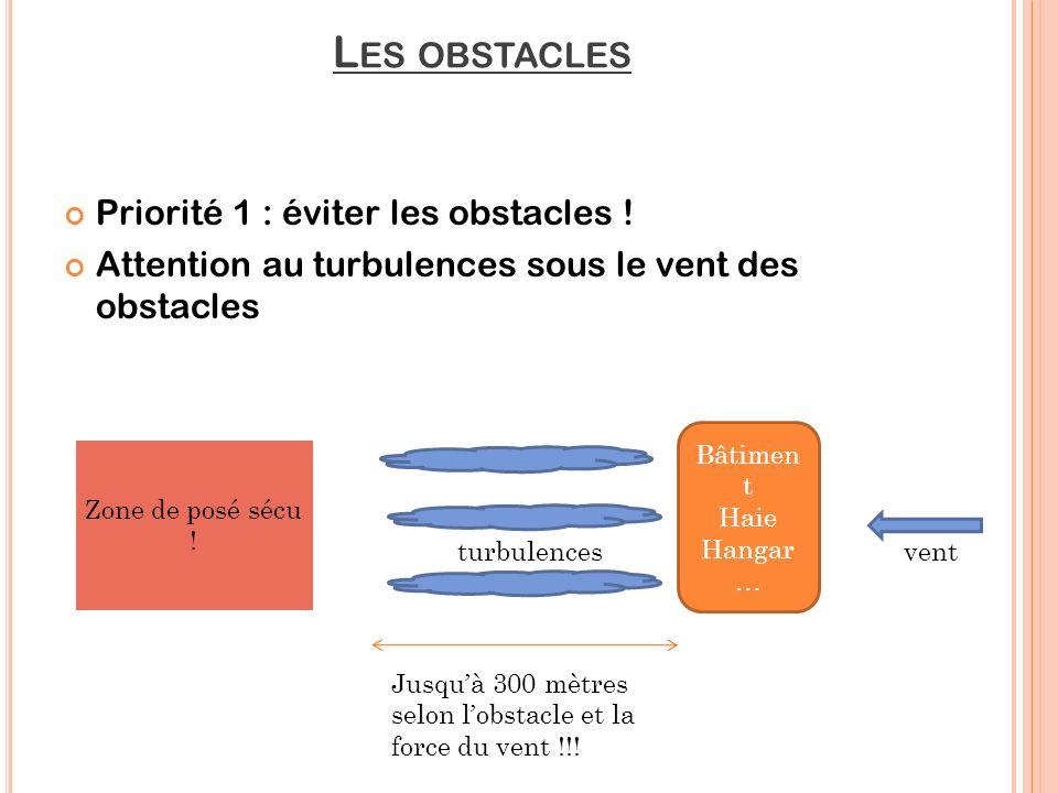 Les obstacles Priorité 1 : éviter les obstacles !