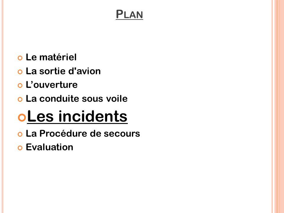 Les incidents Plan Le matériel La sortie d avion L'ouverture