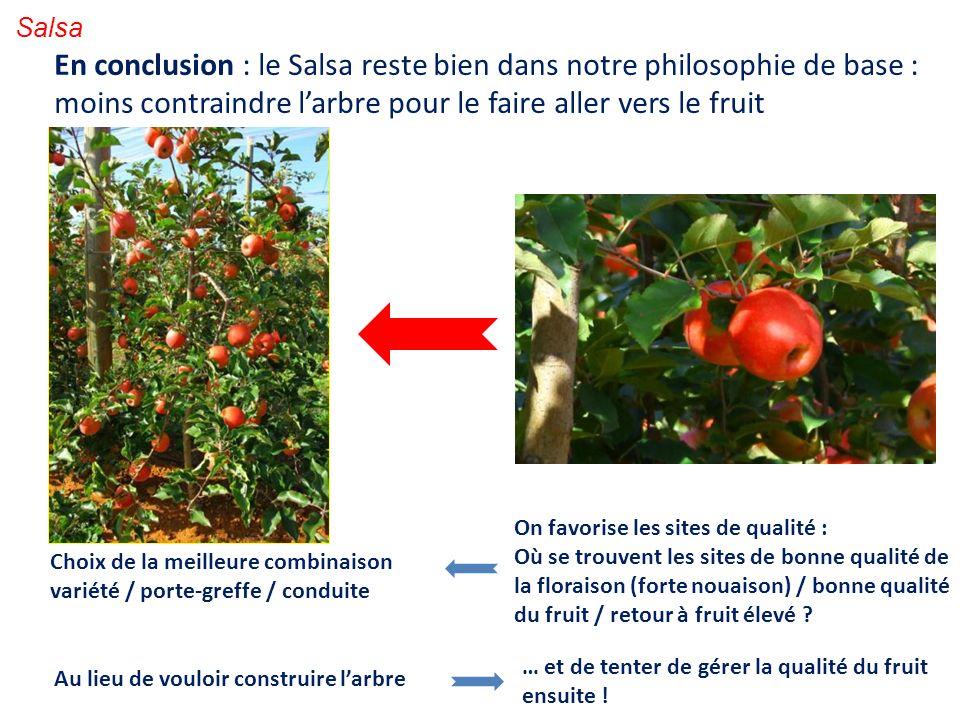 Salsa En conclusion : le Salsa reste bien dans notre philosophie de base : moins contraindre l'arbre pour le faire aller vers le fruit.