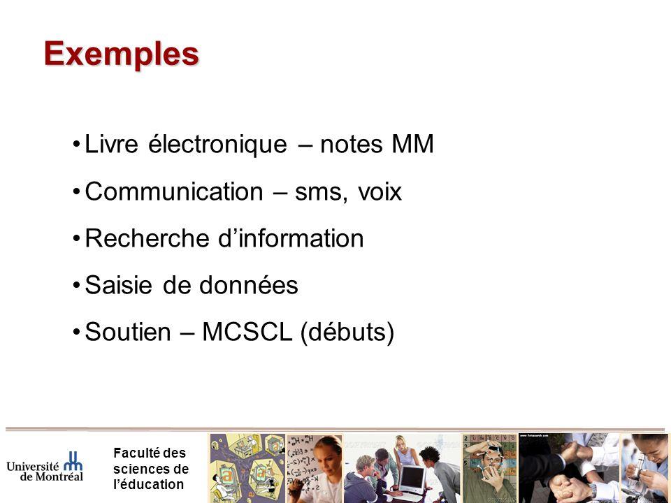 Exemples Livre électronique – notes MM Communication – sms, voix