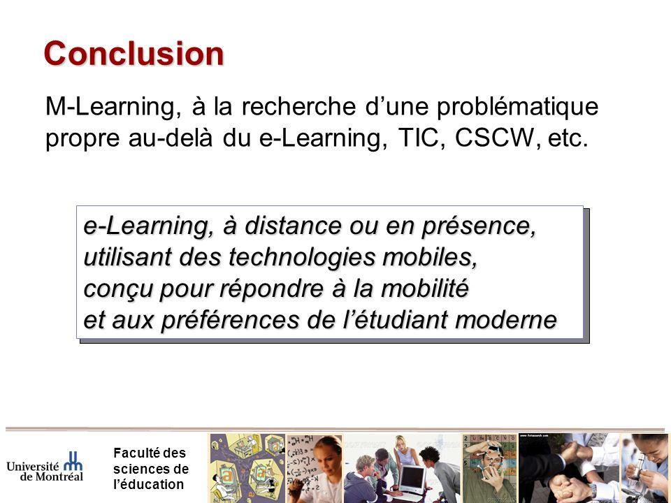Conclusion M-Learning, à la recherche d'une problématique propre au-delà du e-Learning, TIC, CSCW, etc.