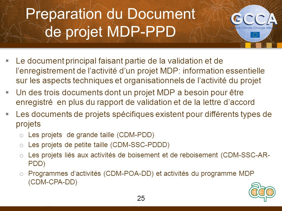 Preparation du Document de projet MDP-PPD