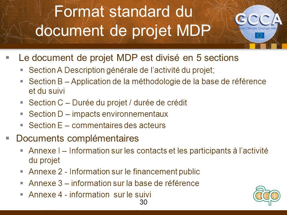 Format standard du document de projet MDP