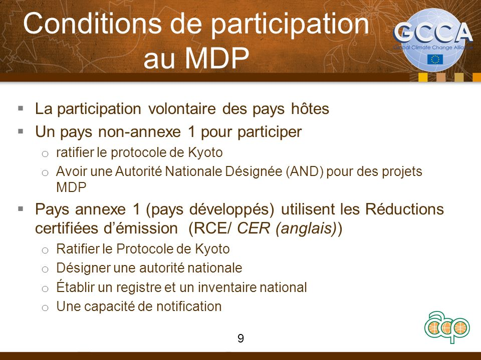 Conditions de participation au MDP