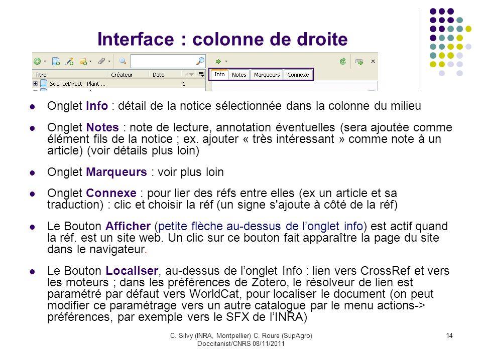 Interface : colonne de droite