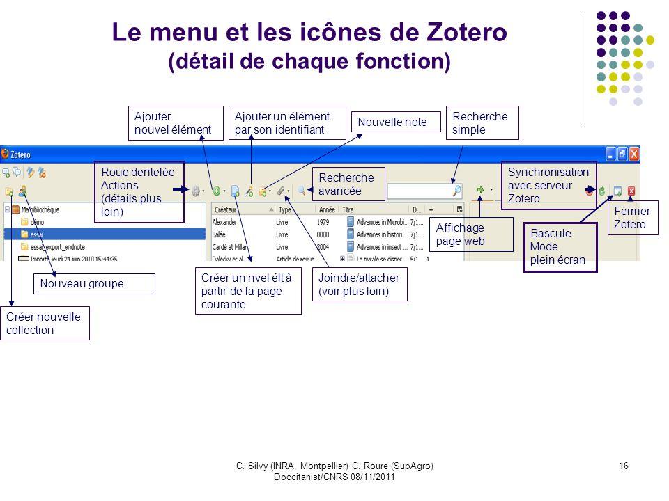 Le menu et les icônes de Zotero (détail de chaque fonction)