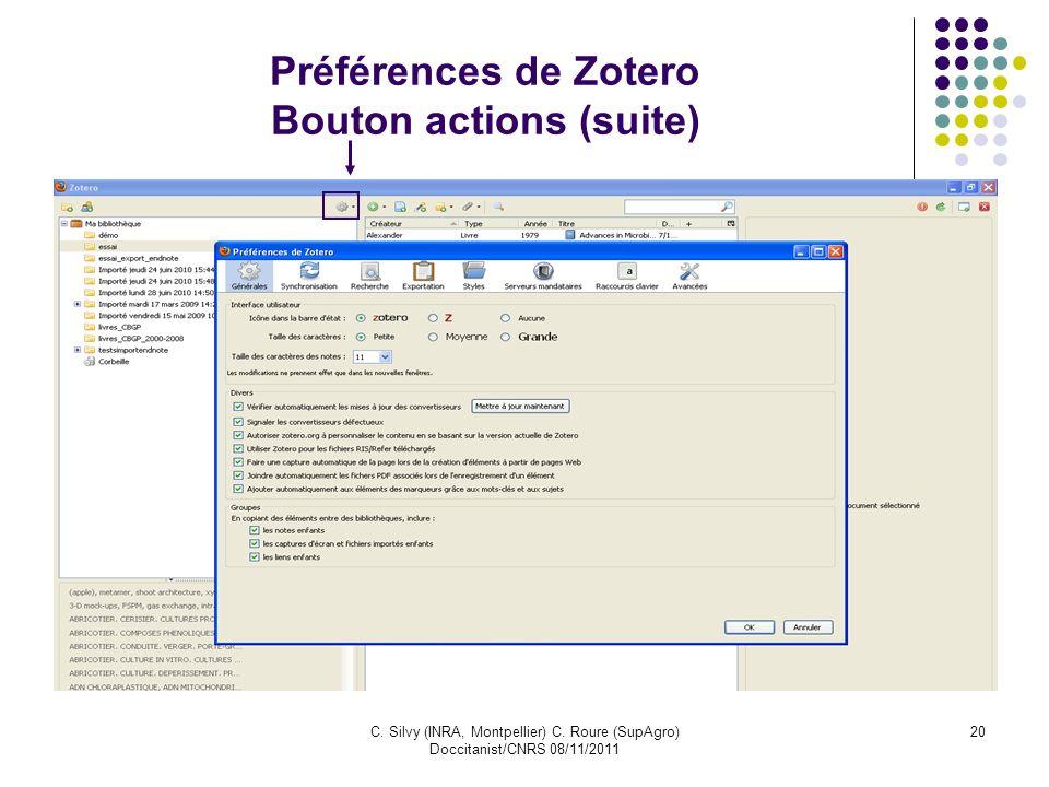 Préférences de Zotero Bouton actions (suite)