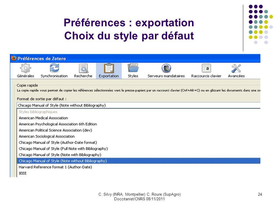 Préférences : exportation Choix du style par défaut