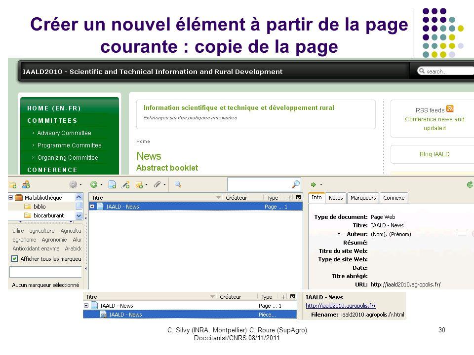 Créer un nouvel élément à partir de la page courante : copie de la page