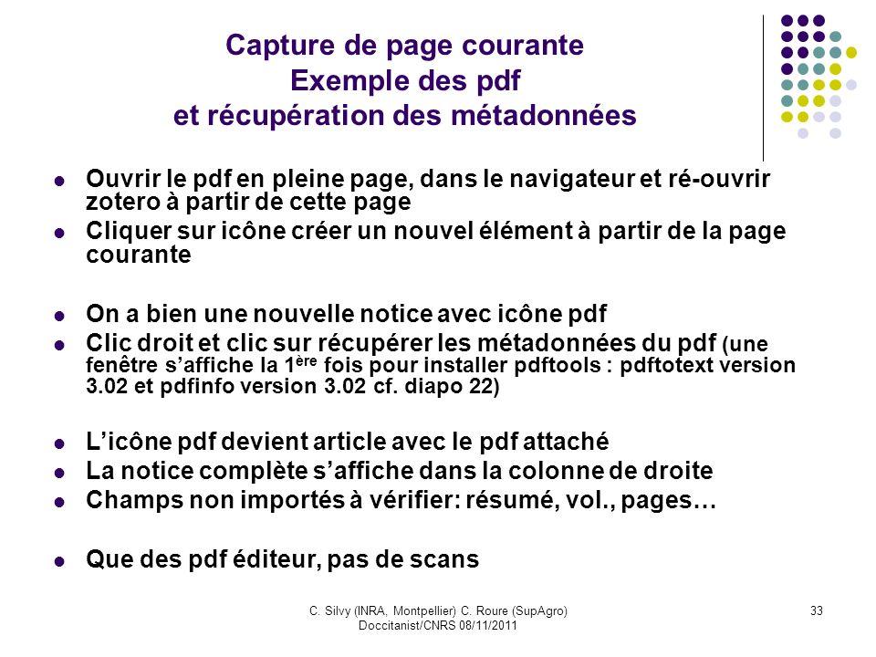 Capture de page courante Exemple des pdf et récupération des métadonnées