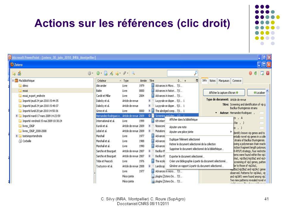 Actions sur les références (clic droit)
