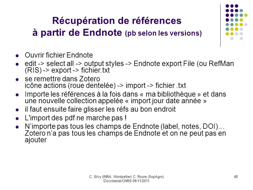 Récupération de références à partir de Endnote (pb selon les versions)