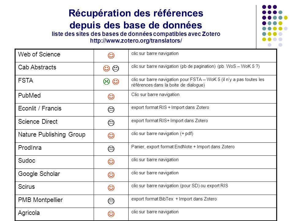 Récupération des références depuis des base de données liste des sites des bases de données compatibles avec Zotero http://www.zotero.org/translators/