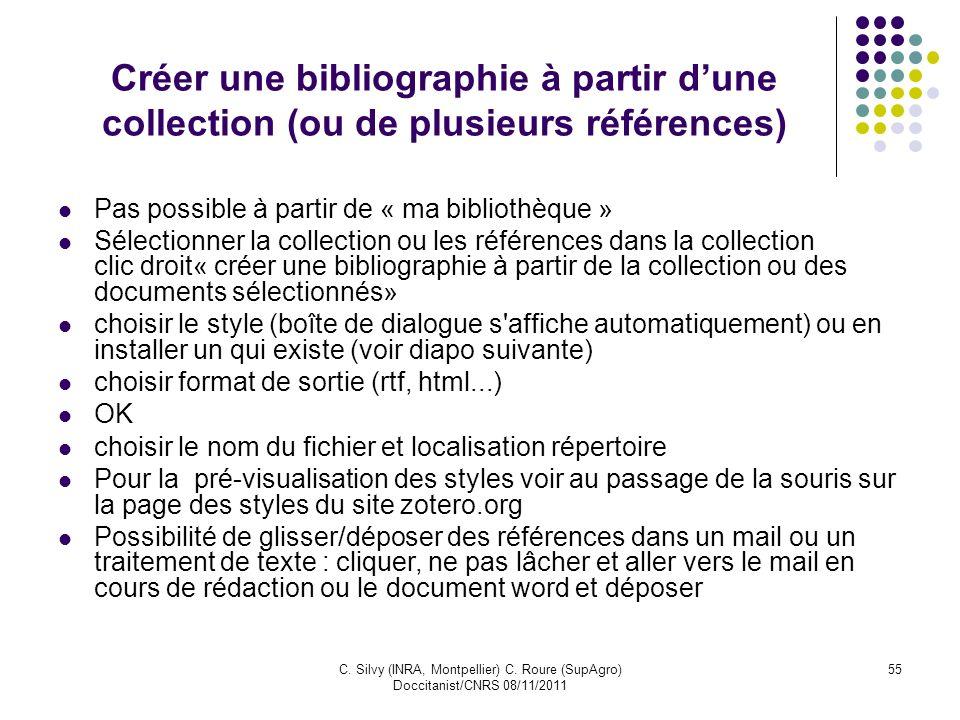 Créer une bibliographie à partir d'une collection (ou de plusieurs références)