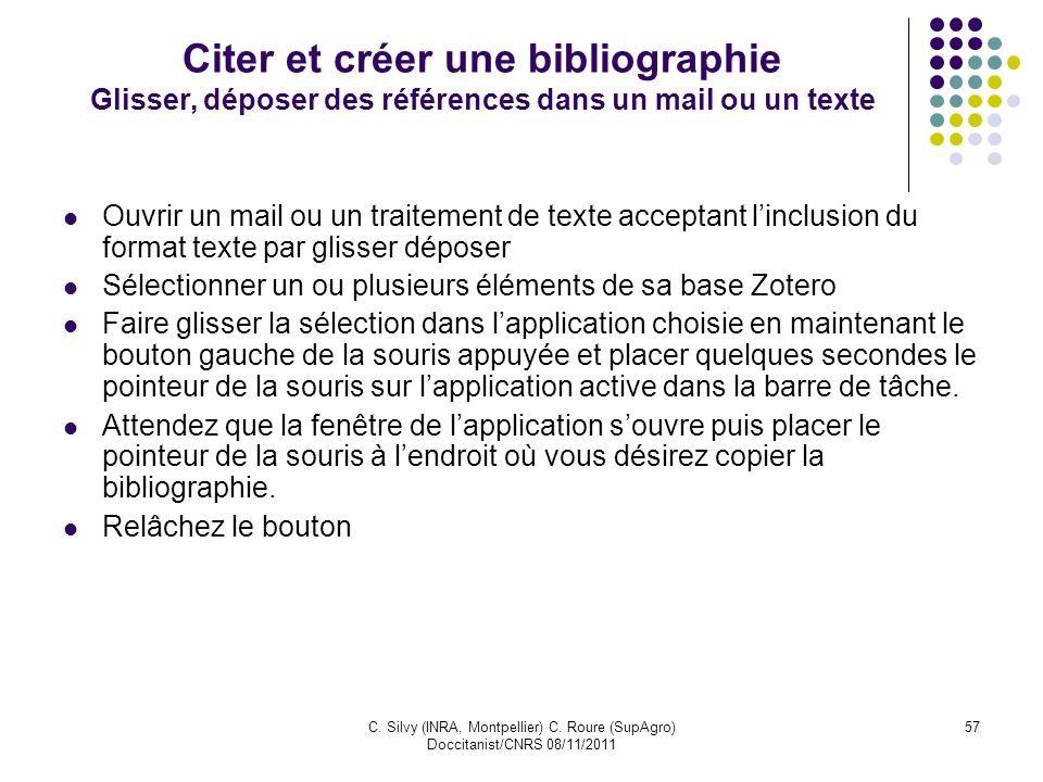 Citer et créer une bibliographie Glisser, déposer des références dans un mail ou un texte