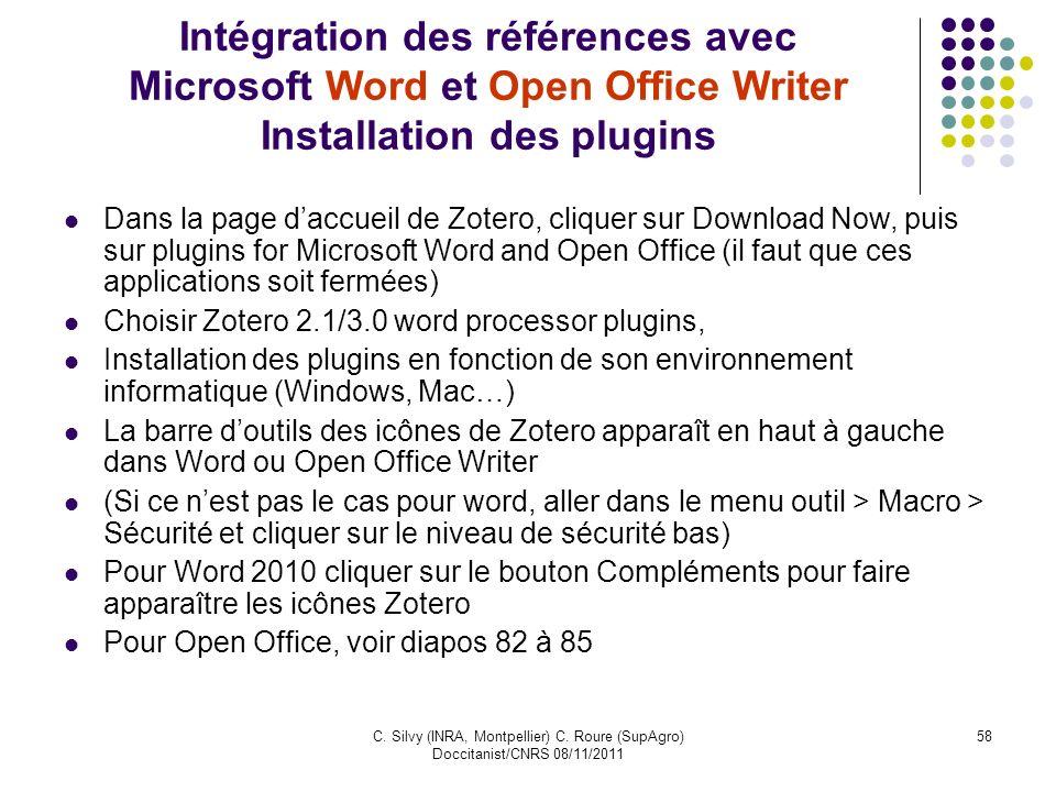 Intégration des références avec Microsoft Word et Open Office Writer Installation des plugins
