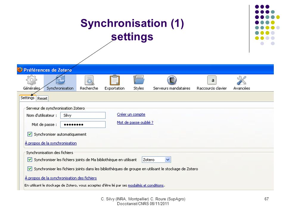 Synchronisation (1) settings
