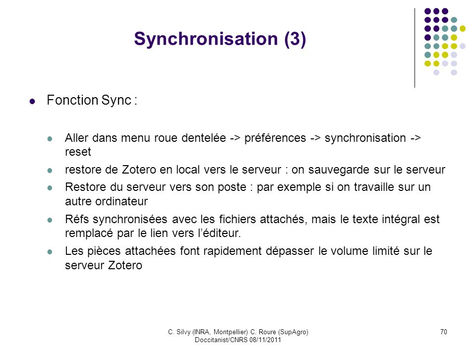 Synchronisation (3) Fonction Sync :