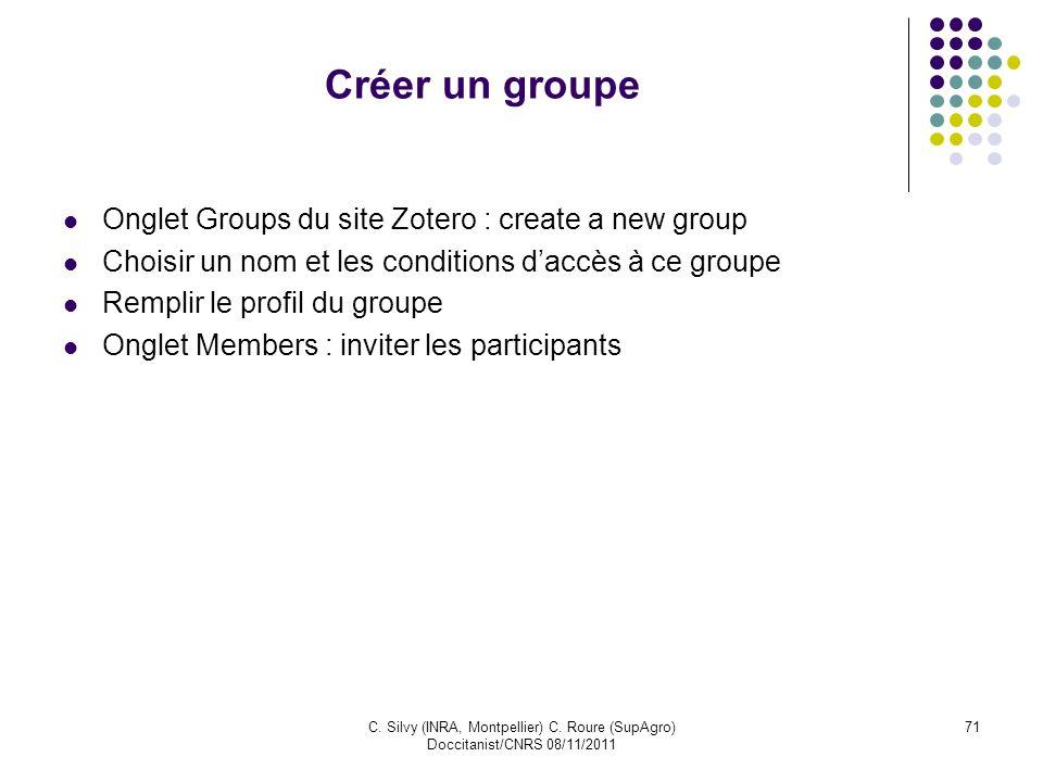Créer un groupe Onglet Groups du site Zotero : create a new group