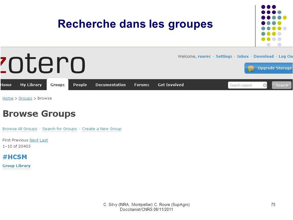 Recherche dans les groupes