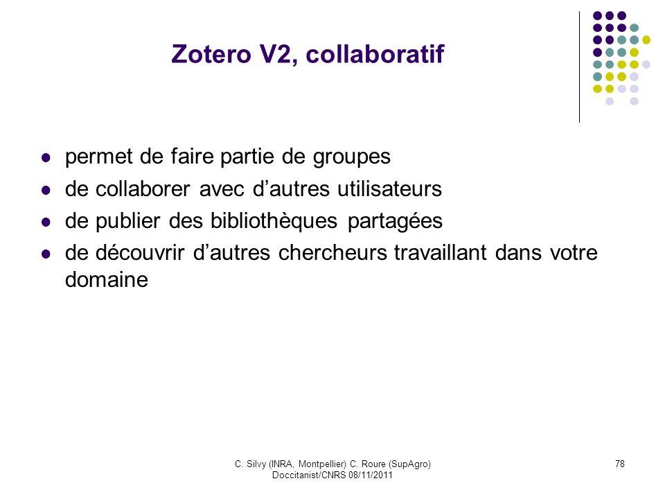 Zotero V2, collaboratif permet de faire partie de groupes