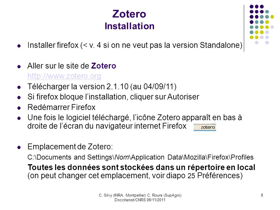 Zotero Installation Installer firefox (< v. 4 si on ne veut pas la version Standalone) Aller sur le site de Zotero.