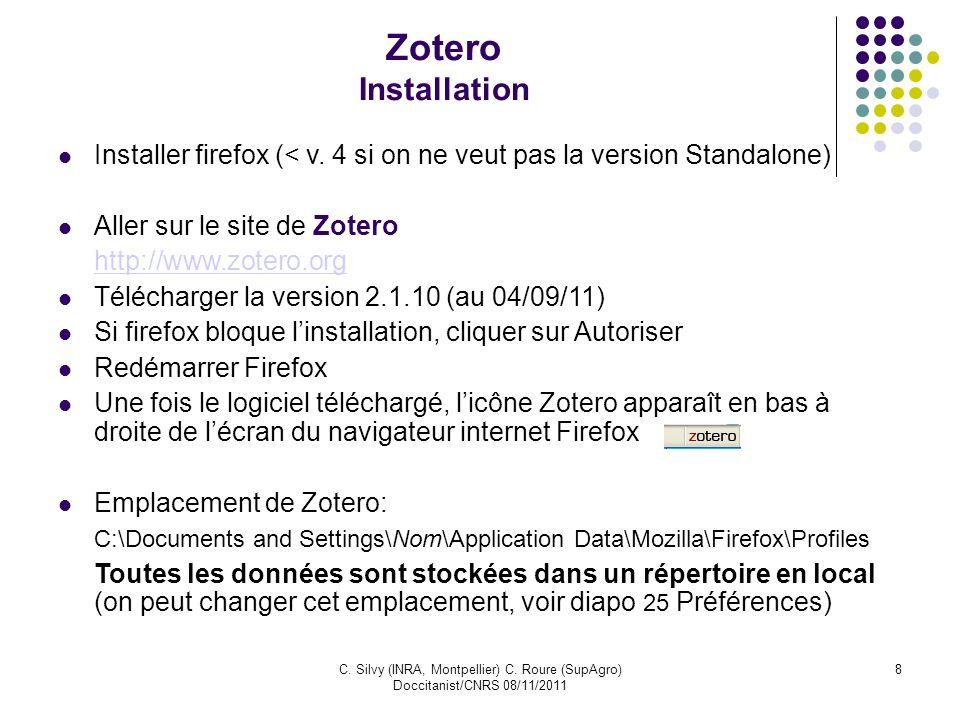 Zotero InstallationInstaller firefox (< v. 4 si on ne veut pas la version Standalone) Aller sur le site de Zotero.