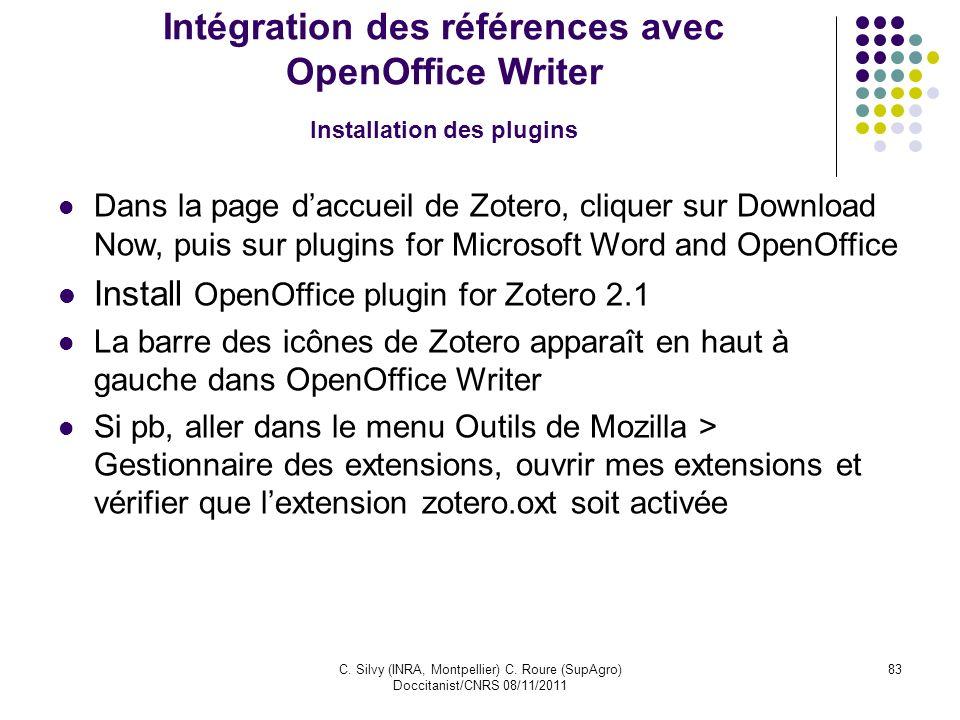 Intégration des références avec OpenOffice Writer Installation des plugins