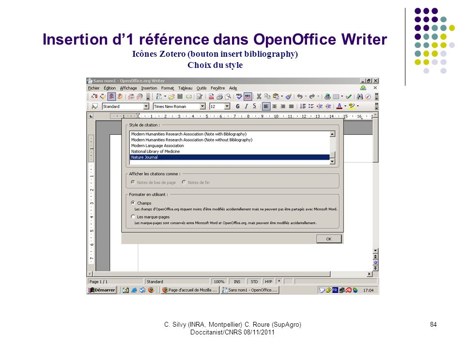 Insertion d'1 référence dans OpenOffice Writer Icônes Zotero (bouton insert bibliography)