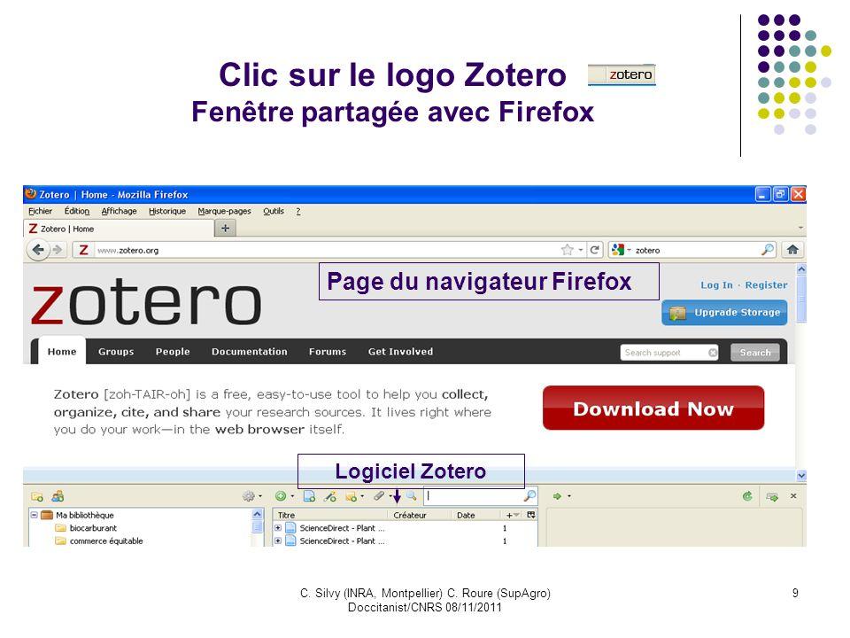 Clic sur le logo Zotero Fenêtre partagée avec Firefox
