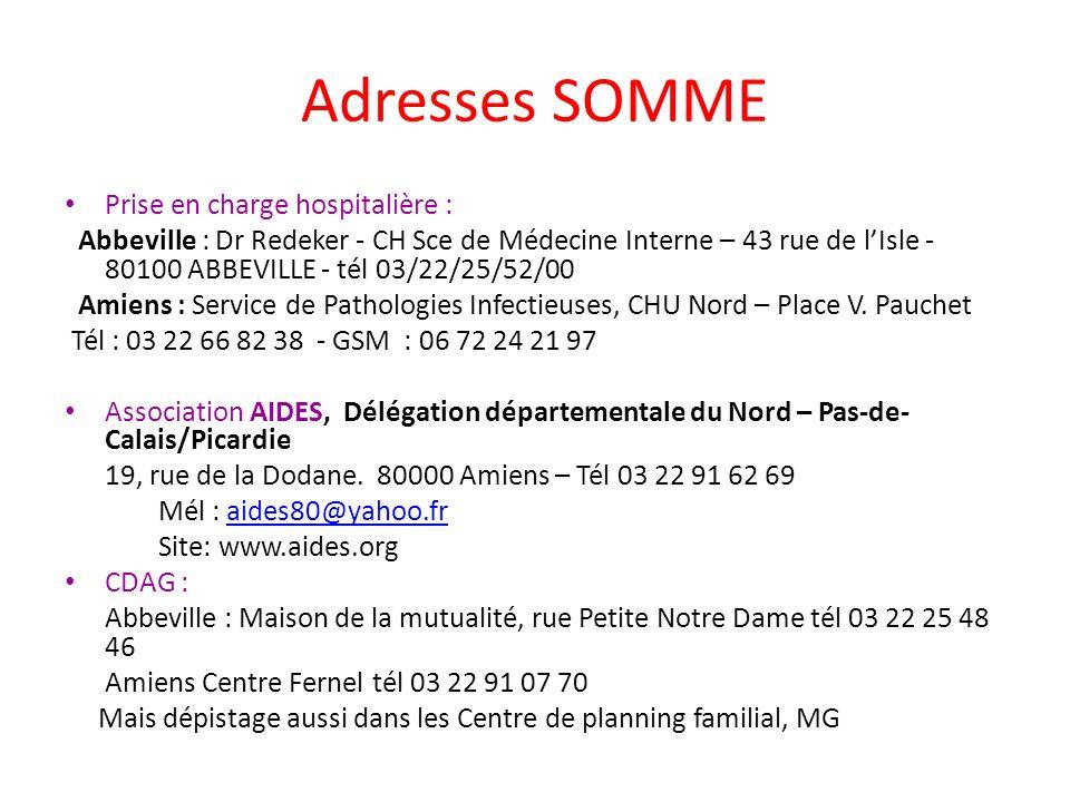Adresses SOMME Prise en charge hospitalière :