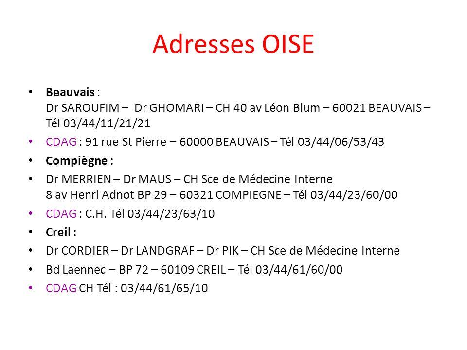 Adresses OISE Beauvais : Dr SAROUFIM – Dr GHOMARI – CH 40 av Léon Blum – 60021 BEAUVAIS – Tél 03/44/11/21/21.