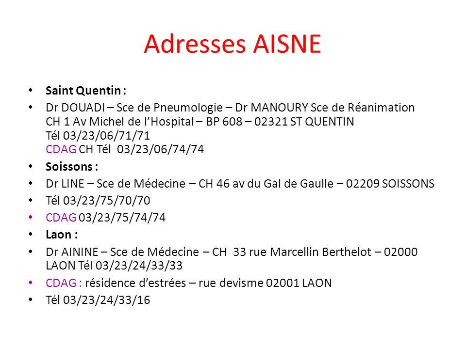 Adresses AISNE Saint Quentin :