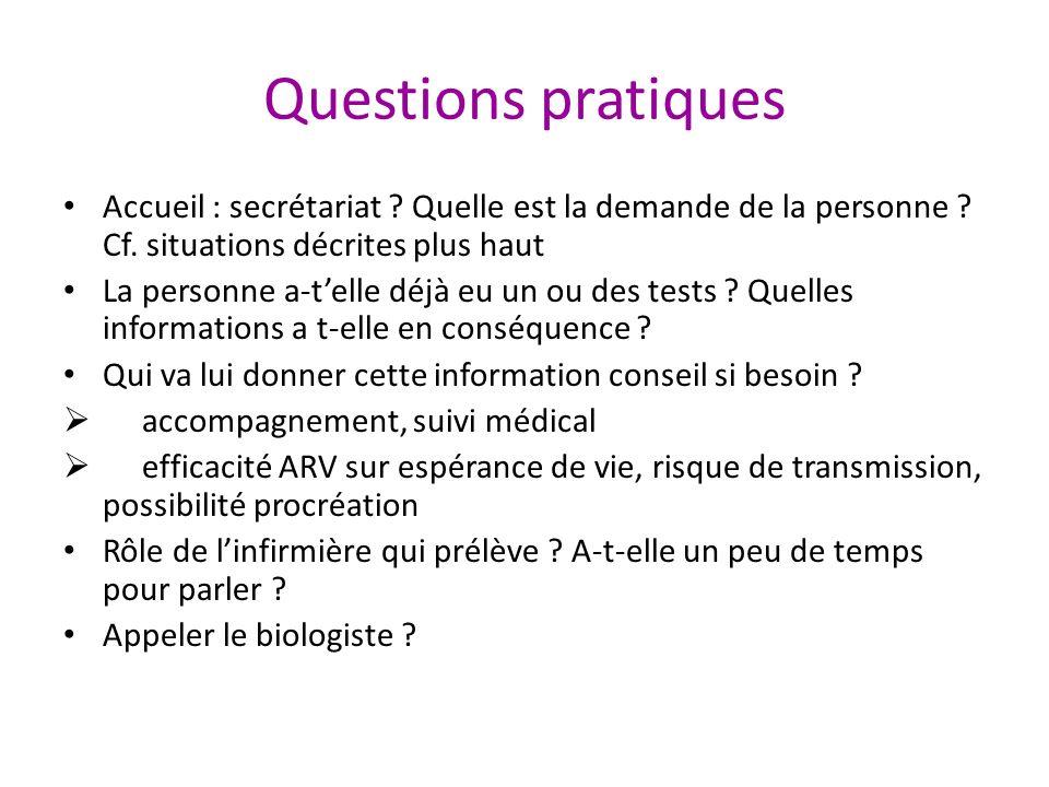 Questions pratiques Accueil : secrétariat Quelle est la demande de la personne Cf. situations décrites plus haut.