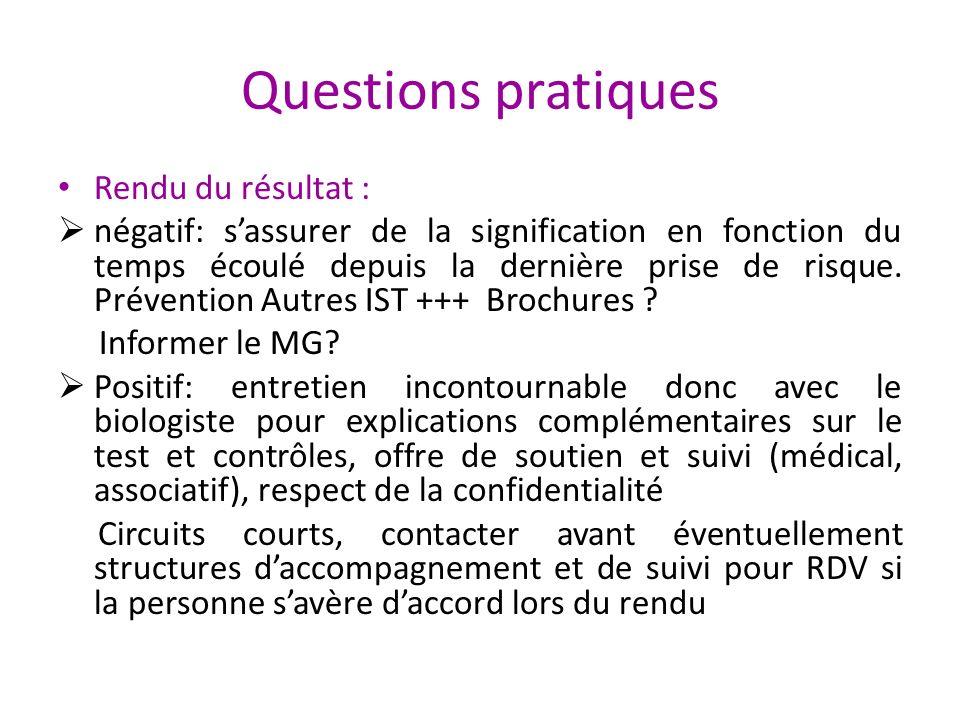 Questions pratiques Rendu du résultat :