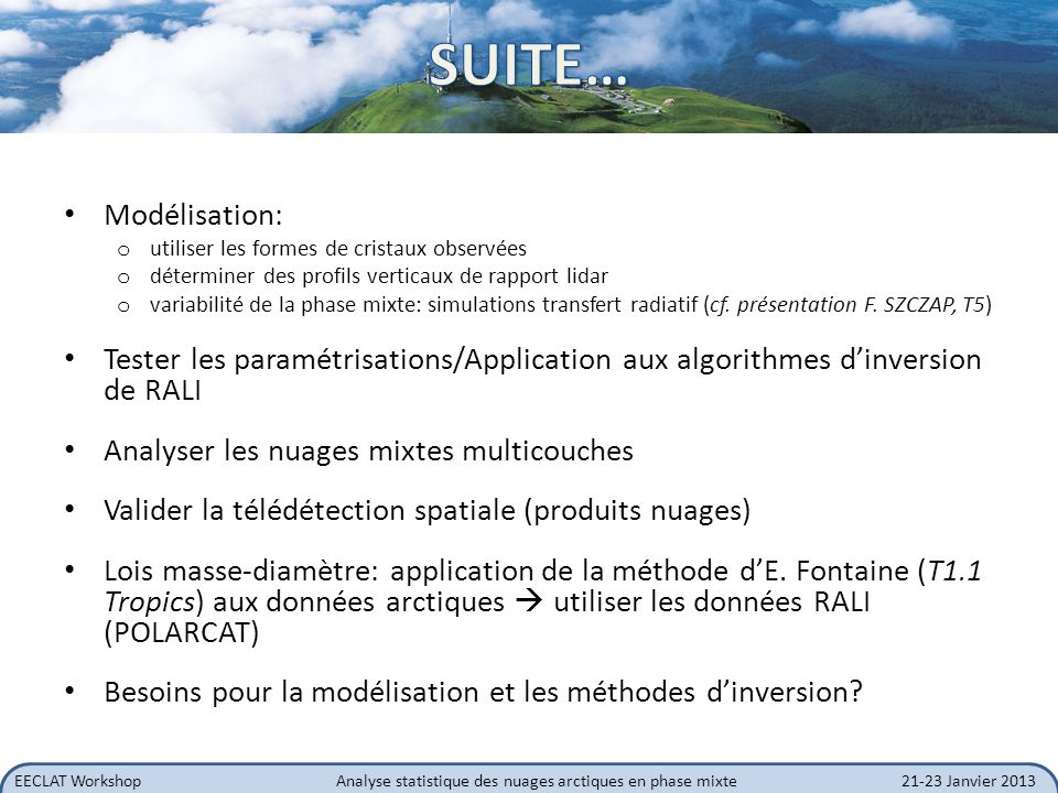 SUITE… Modélisation: utiliser les formes de cristaux observées. déterminer des profils verticaux de rapport lidar.