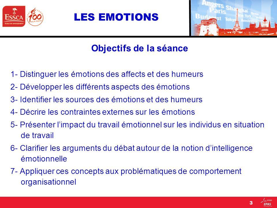 LES EMOTIONS Objectifs de la séance